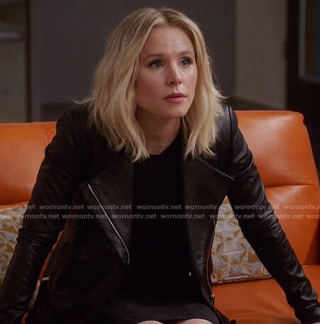 Eleanor's black leather jacket on The Good Place