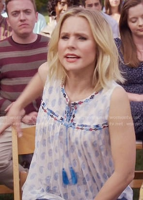 Eleanor's blue printed sleeveless top with tassels on The Good Place