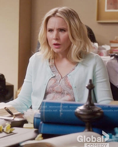 Eleanor's dotted print v-neck top on The Good Place