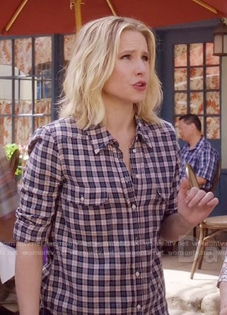Eleanor's pink and navy checked shirt on The Good Place