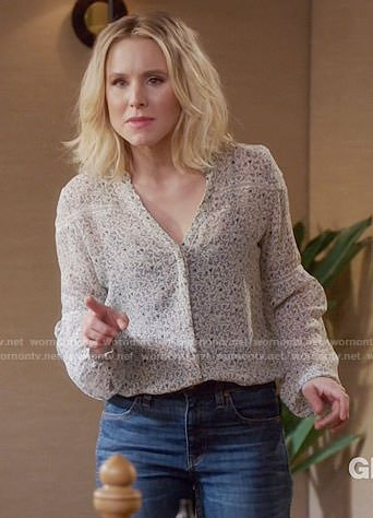 Eleanor's printed v-neck blouse on The Good Place