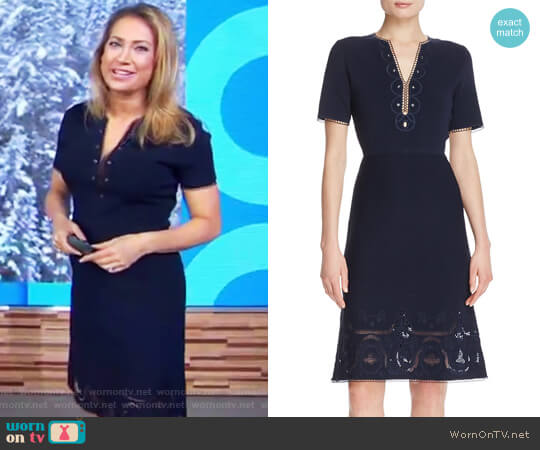 Scout Embroidered Sweater Dress by Elie Tahari worn by Ginger Zee  on Good Morning America