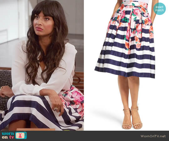 Eliza J Floral Stripe Midi Skirt worn by Jameela Jamil on The Good Place