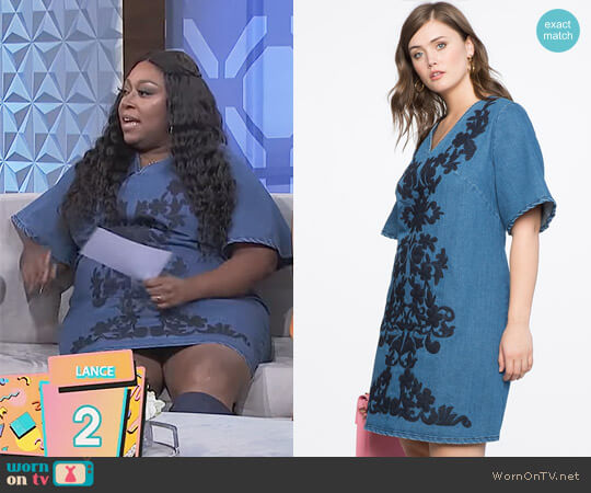 Embroidered A Line Denim Dress by Eloquii worn by Loni Love (Loni Love) on The Real