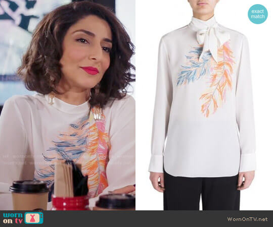 Emilio Pucci Feather Highneck Silk Blouse worn by Delia (Necar Zadegan) on GG2D