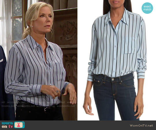 Equipment Daddy Oversize Stripe Silk Shirt in Pear Blue worn by Katherine Kelly Lang on The Bold & the Beautiful