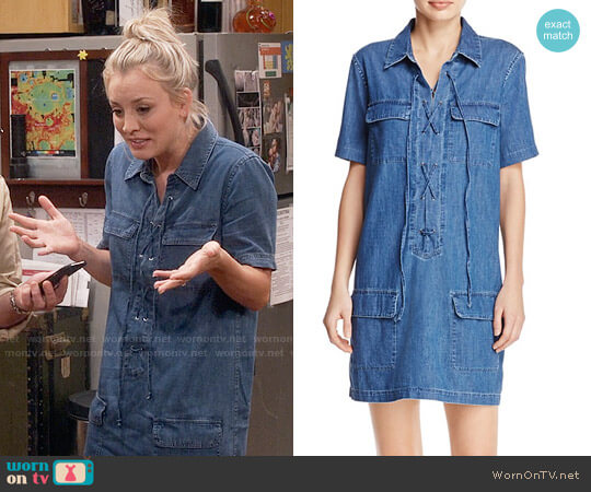 Equipment Knox Denim Dress worn by Kaley Cuoco on The Big Bang Theory