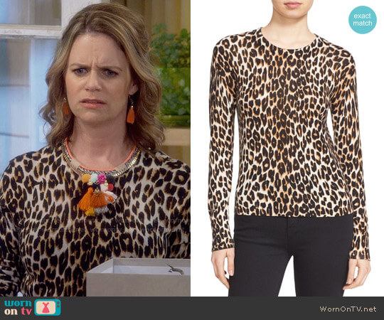 Equipment Shirley Leopard Sweater worn by Andrea Barber on Fuller House