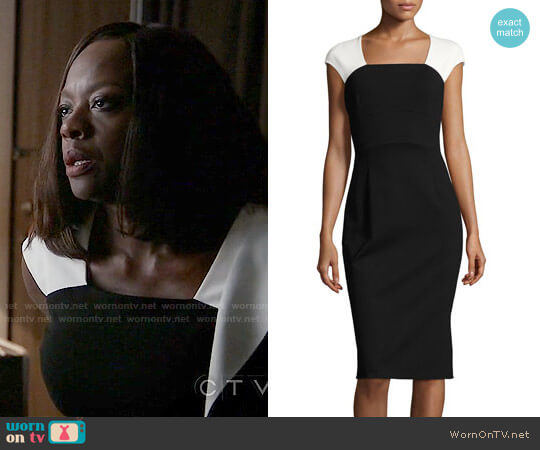 Escada Colorblock Cap-Sleeve Sheath Dress worn by Viola Davis on HTGAWM