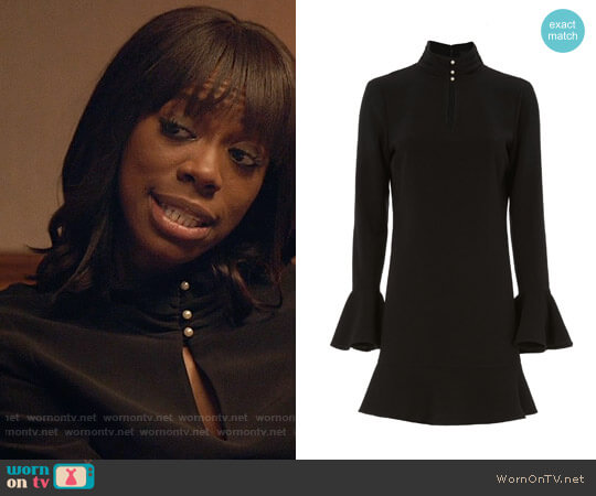 Exclusive for Intermix Kiki Faux Pearl Button Neckline Dress worn by Yvonne Orji on Insecure