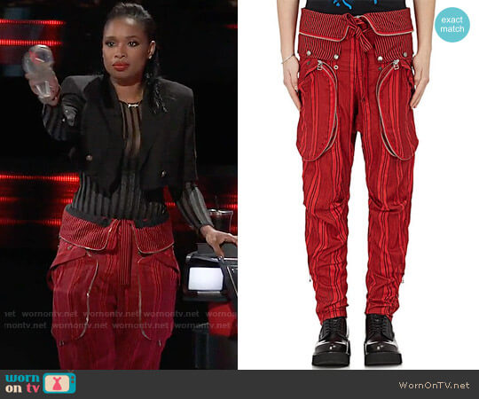 Faith Connexion Mens Striped Silk Cargo Pants worn by Jennifer Hudson  on The Voice