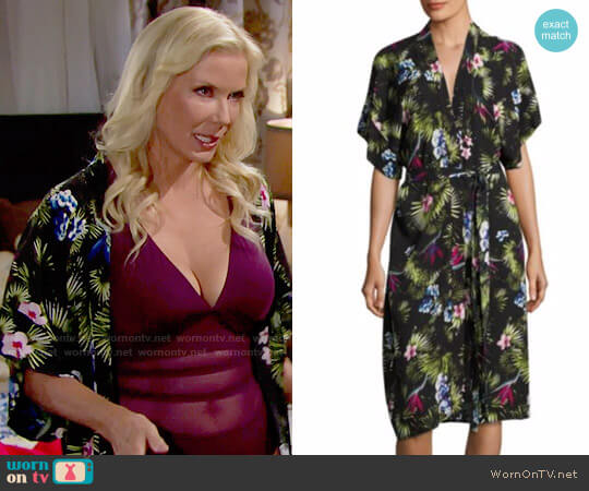 Fleur Du Mal Printed Silk Robe in Tropical worn by Katherine Kelly Lang on The Bold & the Beautiful