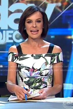 Natarsha's floral print cold shoulder dress on The Project
