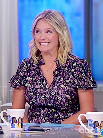 Sarah's black floral silk dress on The View