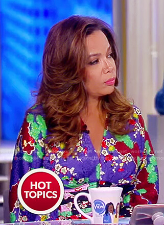 Sunny's multi-colored floral silk dress on The View