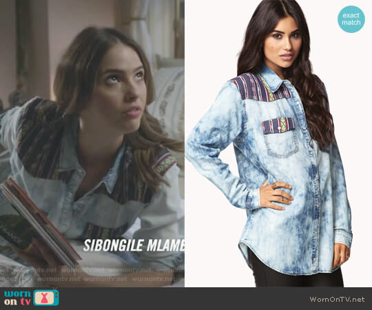 Blue Southwest Bound Chambray Shirt by Forever 21 worn by Shelley Hennig on Teen Wolf