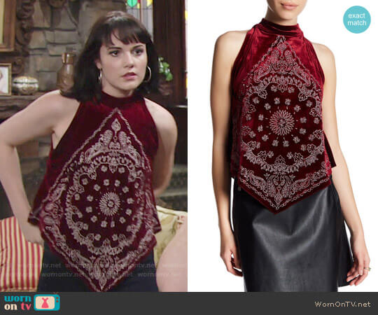 Free People Bandana Bling Velvet Tank worn by Tessa Porter (Cait Fairbanks) on The Young & the Restless