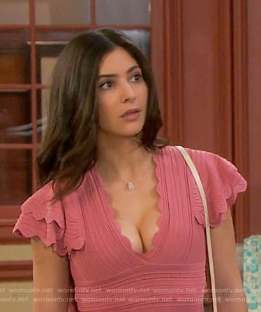 Gabi's pink scallop trim dress on Days of our Lives