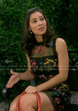 Gabi's black floral embroidered dress on Days of our Lives