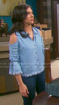 Gabi's frayed chambray cold-shoulder shirt on Days of our Lives
