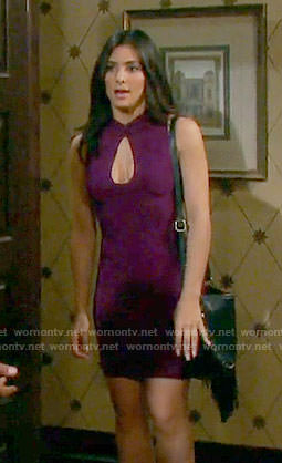 Gabi's purple keyhole cutout dress on Days of our Lives