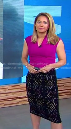 Gigner's purple v-neck top and black eyelet skirt on Good Morning America