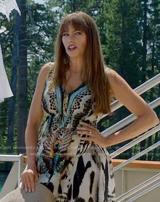 Gloria's animal print maxi dress on Modern Family