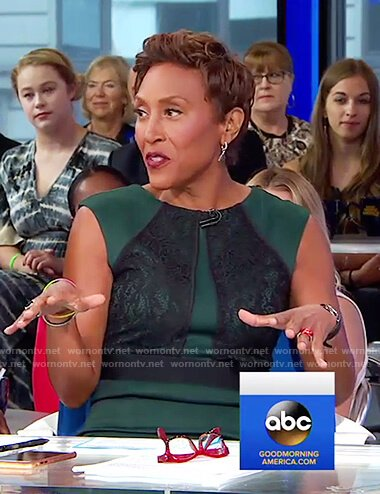 Robin's green lace detail sheath dress on Good Morning America