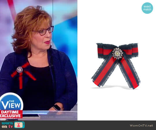 Grosgrain, crystal and faux pearl brooch by Gucci worn by Joy Behar on The View