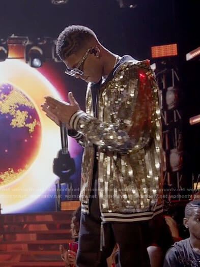 Hakeem's gold sequined hooded bomber jacket on Empire