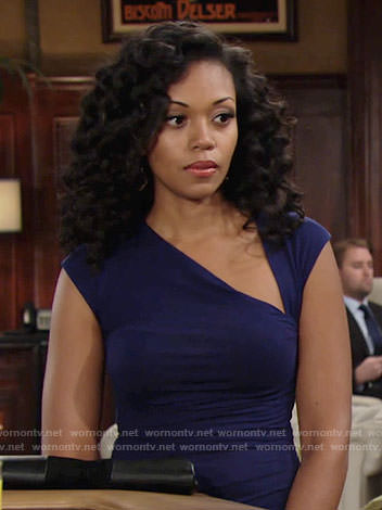 Hilary's blue asymmetric neck top on The Young and the Restless