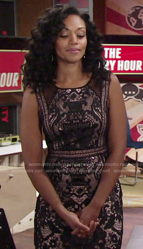 Hilary's black lace dress on The Young and the Restless