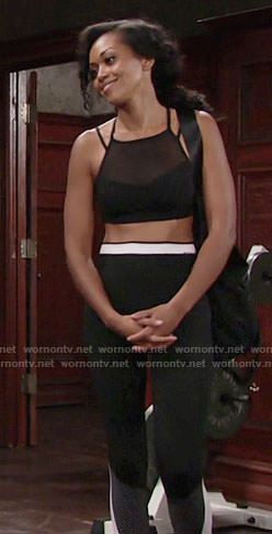 Hilary's black and white tights on The Young and the Restless