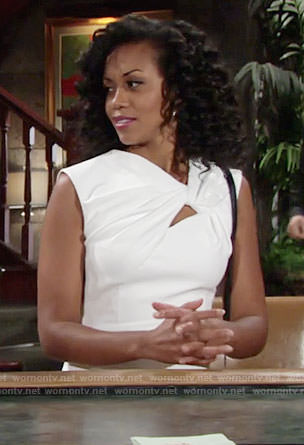 Hilary's white knotted dress on The Young and the Restless