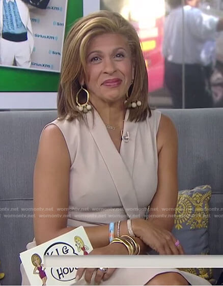 Hoda's beige sleeveless wrap dress on Today