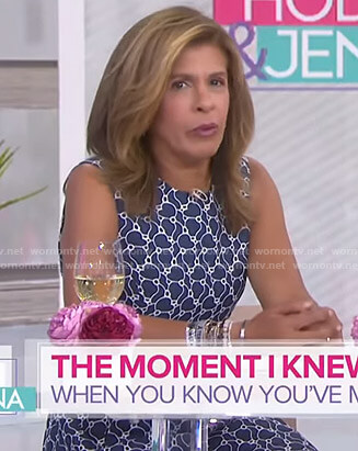 Hoda's navy floral sleeveless dress on Today