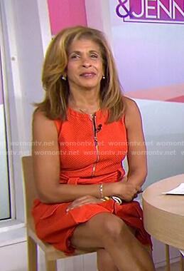 Hoda's orange zip front dress on Today
