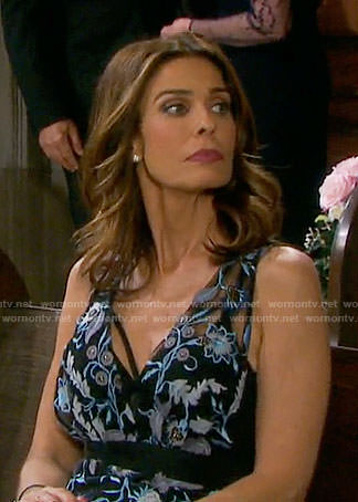 Hope's blue floral embroidered dress on Days of our Lives