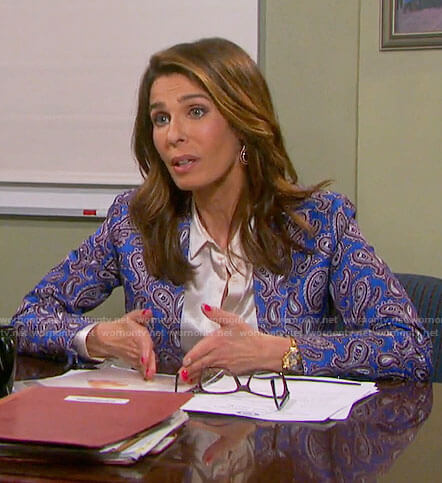 Hope's blue paisley blazer on Days of our Lives