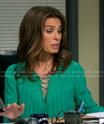 Hope's green lace-up blouse on Days of our Lives