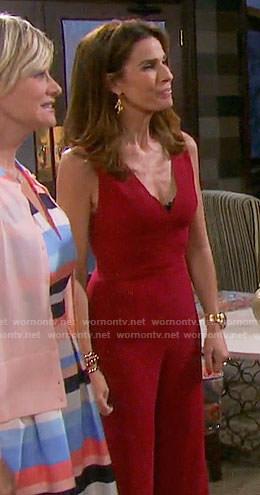0847ef400740 WornOnTV  Hope s red v-neck jumpsuit on Days of our Lives