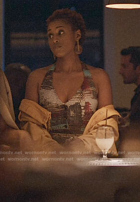 Issa's patchwork tweed halter crop top and skirt on Insecure
