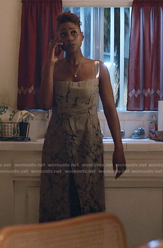 Issa's abstract print dress on Insecure