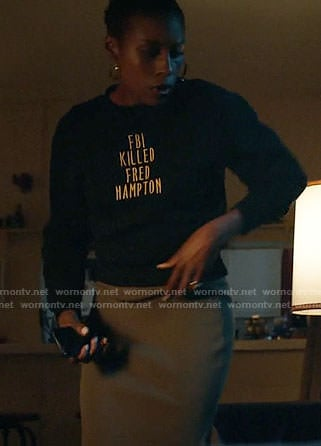 Issa's 'FBI Killed Fred Hampton' Sweater on Insecure