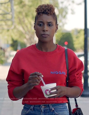 Issa's red sweatshirt on Insecure