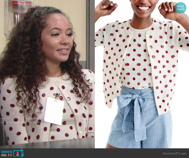 J. Crew Sequin Polka Dot Dusty Ruby Jackie Shell and Cardigan worn by Mattie Ashby (Lexie Stevenson) on The Young & the Restless