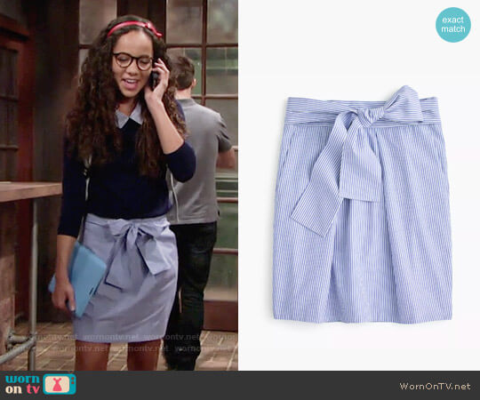 J. Crew Wrap-around tie skirt in shirting stripes worn by Mattie Ashby (Lexie Stevenson) on The Young & the Restless