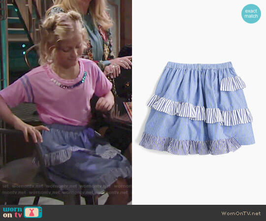 J. Crew Girls' Mixed Stripe Skirt worn by Alyvia Alyn Lind on The Young & the Restless