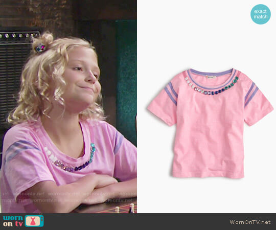 J. Crew Girls' Striped Gem Necklace T-shirt worn by Alyvia Alyn Lind on The Young & the Restless