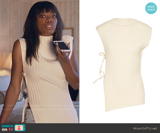 Jacquemus Tie-side ribbed wool top worn by Yvonne Orji on Insecure